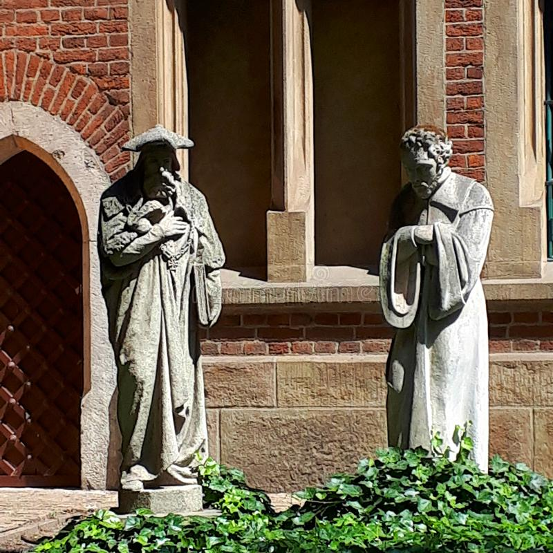 The Jagiellonian University in Krakow Poland. Statues in one of the Gardens. The Jagiellonian University in Krakow Poland. The university was the first in Europe royalty free stock image