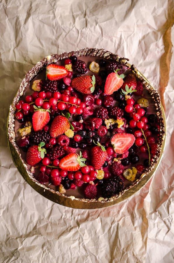 Jagoda czekoladowy tort fotografia stock