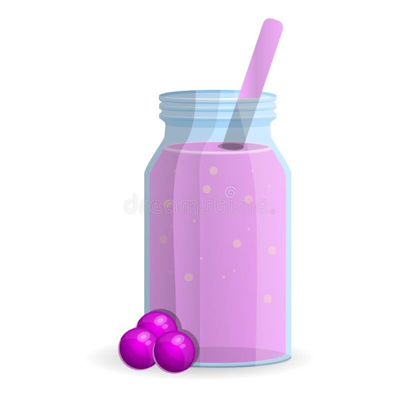 Jagodowa smoothie butelki ikona, kreskówka styl ilustracja wektor