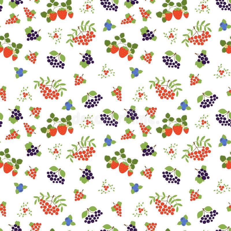 Jagodowy bezszwowy wz?r moda druk Halny popiół, truskawka, czarna jagoda, czerwony rodzynek, rowan, viburnum i czarny chokeberry, ilustracji