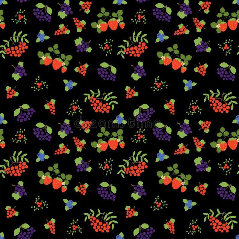 Jagodowy bezszwowy wz?r moda druk Halny popiół, truskawka, czarna jagoda, rodzynek, rowan, viburnum i czarny chokeberry, Projekt ilustracji