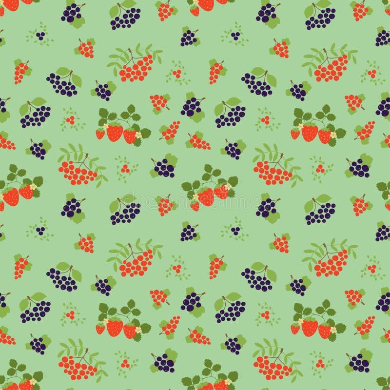 Jagodowy bezszwowy wz?r moda druk Odziewa projekt Halny popiół, truskawka, rodzynek, rowan, viburnum i czarny chokeberry, royalty ilustracja