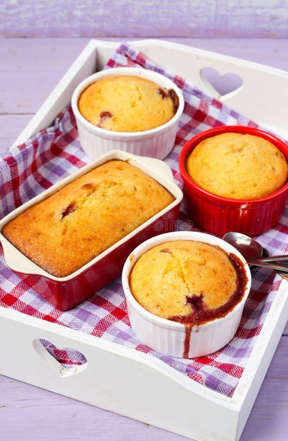 Jagodowy i migdałowy pudding obraz stock
