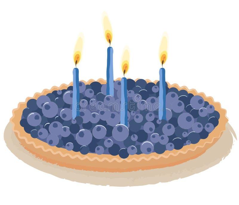 jagodowy urodzinowy tort royalty ilustracja