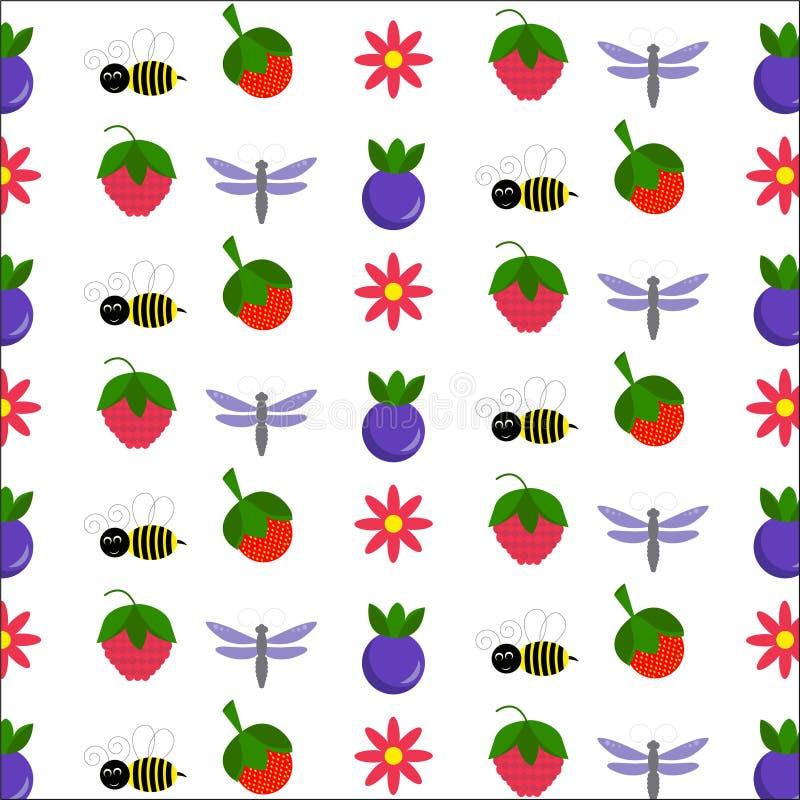 Jagody i śliczni insekty obrazy royalty free