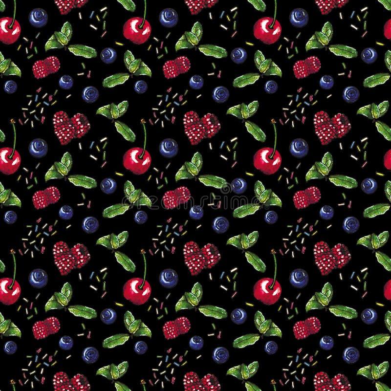 Jagody, słodki naturalny deser na czarnym, bezszwowym akwarela wzorze, royalty ilustracja