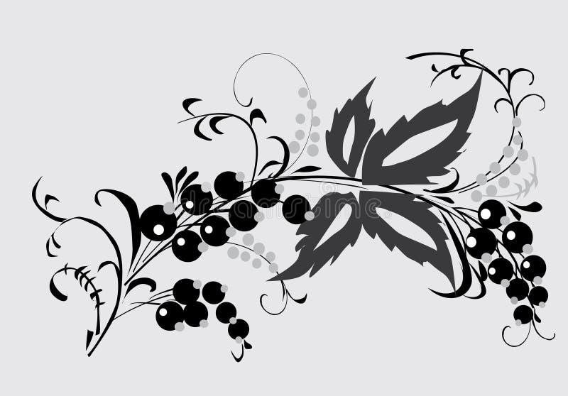 jagody ulistnienia gray ilustracja wektor