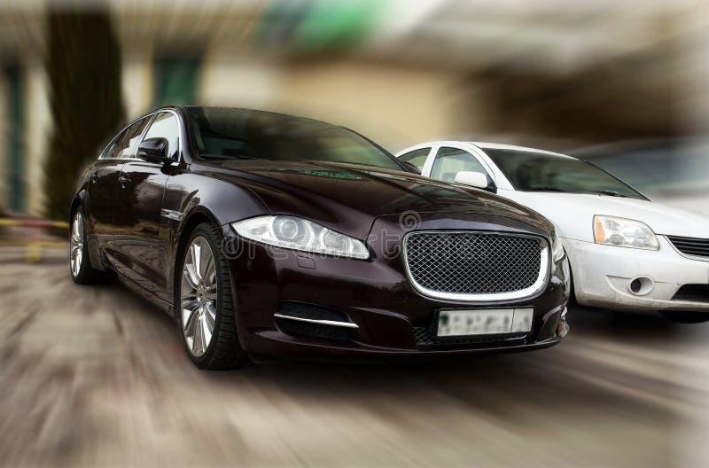 Jaguar black car. royalty free stock images