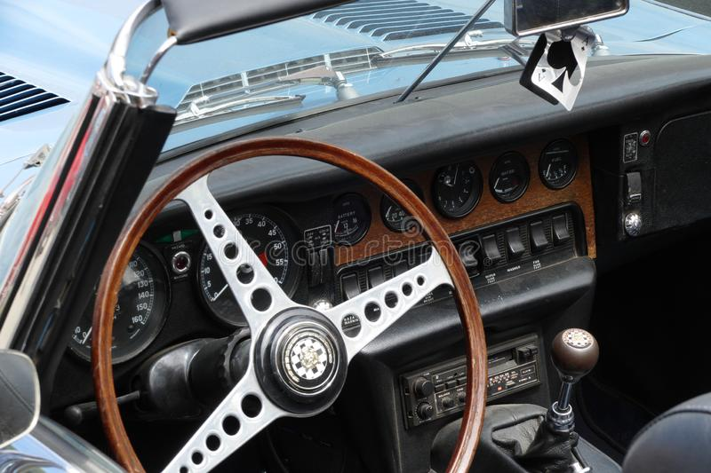 Classic car chrome interior royalty free stock images