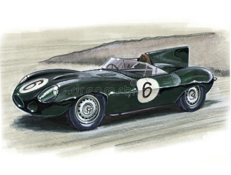 Jaguar D-Type Racing Car. Illustration of a Jaguar D-Type Racing Car stock illustration