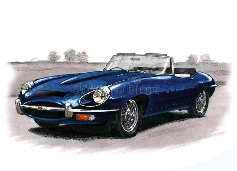 Jaguar E-typ (XKE) serie II vektor illustrationer