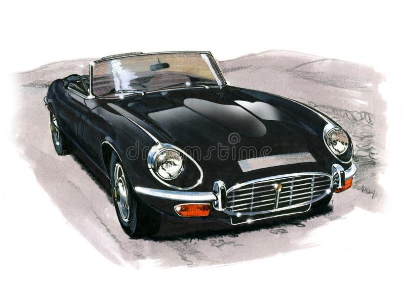 Jaguar E-typ (XKE) serie III royaltyfri illustrationer