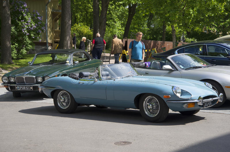 Jaguar E-type Roadster (OTS) Series 2 participate in an exhibition-parade of sports cars. TURKU, FINLAND - JUNE 13, 2015: Jaguar E-type Roadster (OTS) Series 2 stock photo