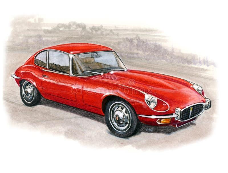 Jaguar E-Type Series III 2+2 royalty free illustration