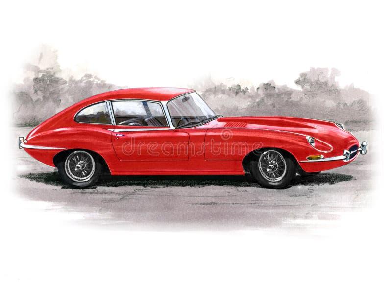 Jaguar E-Type (XKE) Series I 1/2 2+2 vector illustration