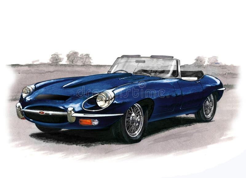 Jaguar E-Type (XKE) Series II. Illustration of a Jaguar E-Type (XKE) Series II roadster vector illustration