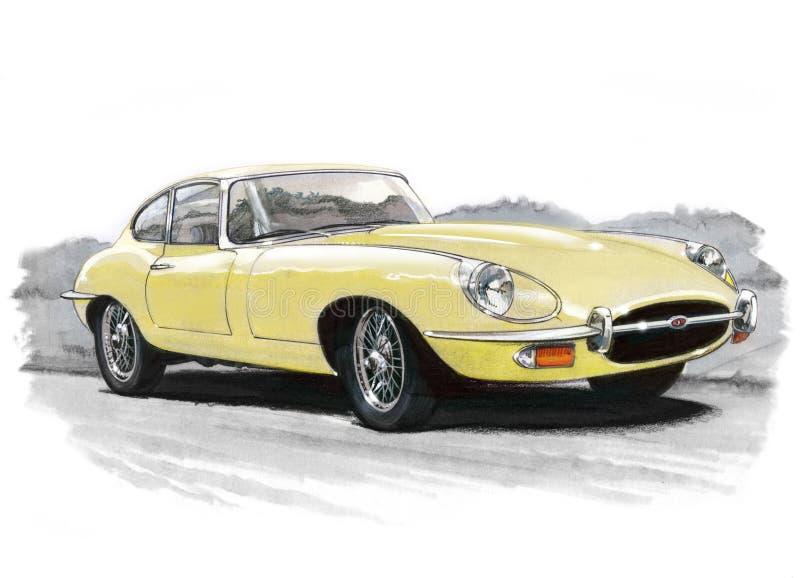 Jaguar E-Type (XKE) Series III. Illustration of a Jaguar E-Type (XKE) Series II coupe vector illustration