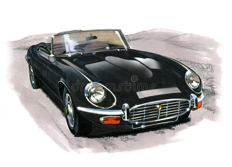 Jaguar E-Type (XKE) Series III royalty free illustration