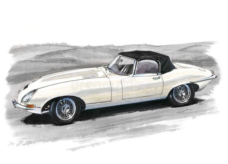 Jaguar E-Type (XKE) Series 1. Illustration of a Jaguar E-Type (XKE) Series 1 royalty free illustration