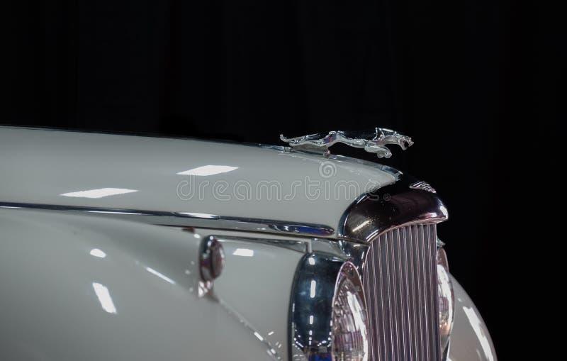 Jaguar-embleem (Jaguar in de sprong) op uitstekende Jaguar-auto stock foto