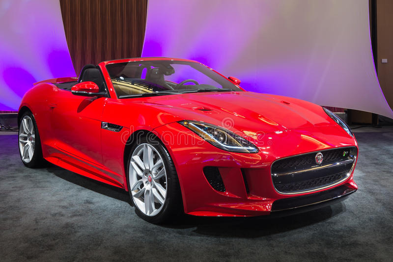 2016 Jaguar F-Type. DETROIT, MI/USA - JANUARY 10, 2016: A 2016 Jaguar F-Type at The Gallery, an event sponsored by the North American International Auto Show ( stock images