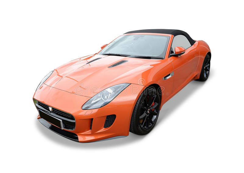 Jaguar F type. An orange Jaguar F-Type sports car on white background stock photos
