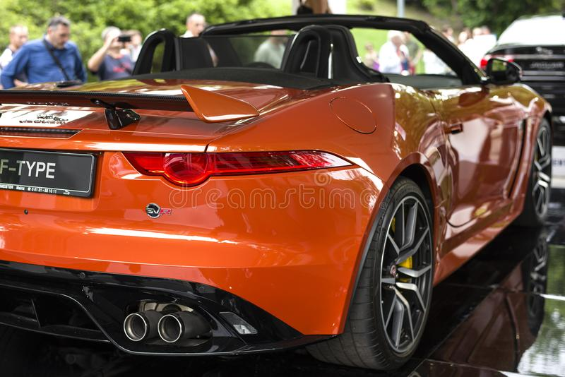 TURIN, ITALY - JUNE 9, 2016 A Jaguar F-Type SVR on display at Turin open air car show royalty free stock image