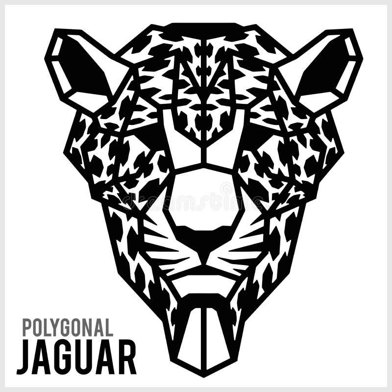 Jaguar głowa w poligonalnym stylu Poligonalni zwierz?ta r?wnie? zwr?ci? corel ilustracji wektora ilustracji