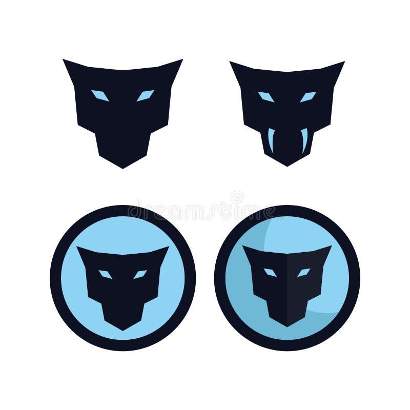 Jaguar głowy logo pojęcia pliki ilustracja wektor