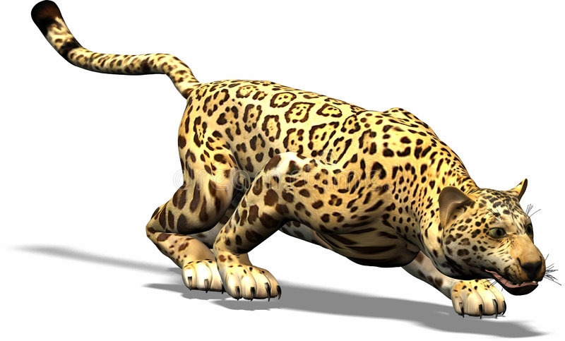 Jaguar on the hunt royalty free illustration