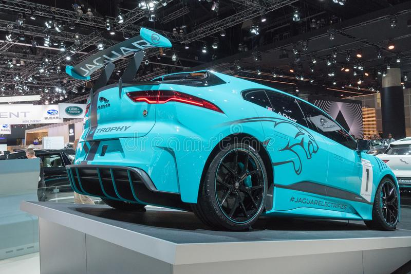 Jaguar I-Pace eTrophy on display during LA Auto Show stock images