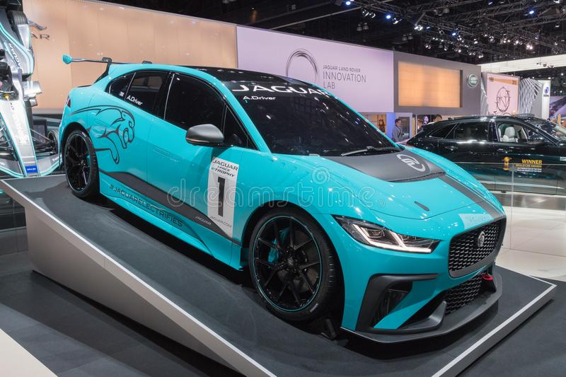Jaguar I-Pace eTrophy on display during LA Auto Show royalty free stock photo