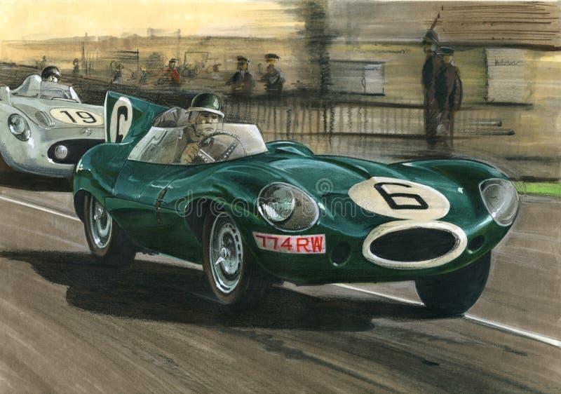 Jaguar 1955 Le Mans Jaguar D-Type royalty free illustration