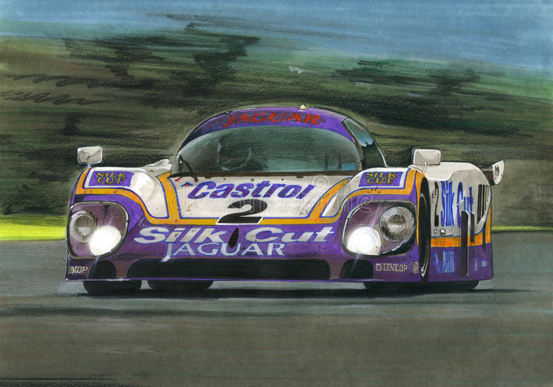 Jaguar Le Mans XJR9 stock illustrationer