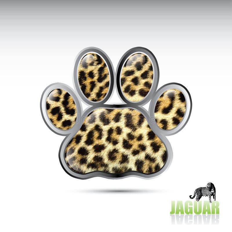 Jaguar leopard paw button vector illustration