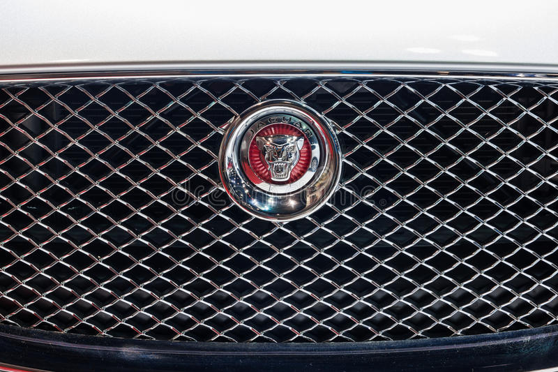 Jaguar logo at front grill. Nonthaburi,Thailand - March 26th, 2015:Jaguar logo at front grill,showed in Thailand the 36th Bangkok International Motor Show on 26 stock images