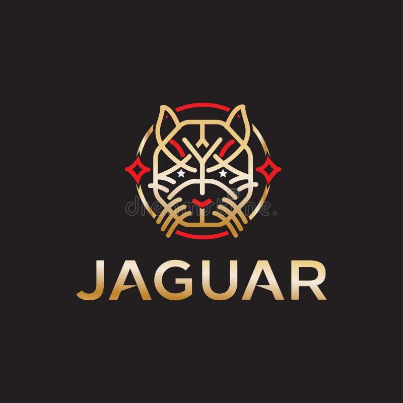 Jaguar logo projekta wektor z nowożytnym ilustracyjnym pojęcie stylem dla odznaki, emblemata i tshirt druku, potężny Jaguar illus royalty ilustracja