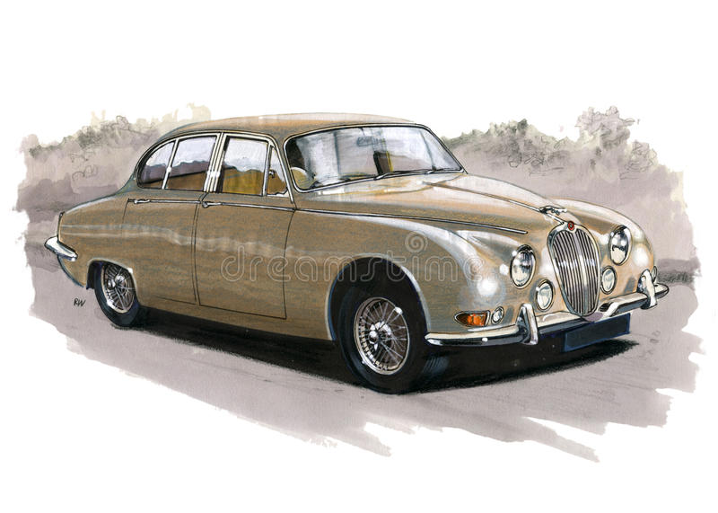 Jaguar MkII S typ royaltyfri illustrationer