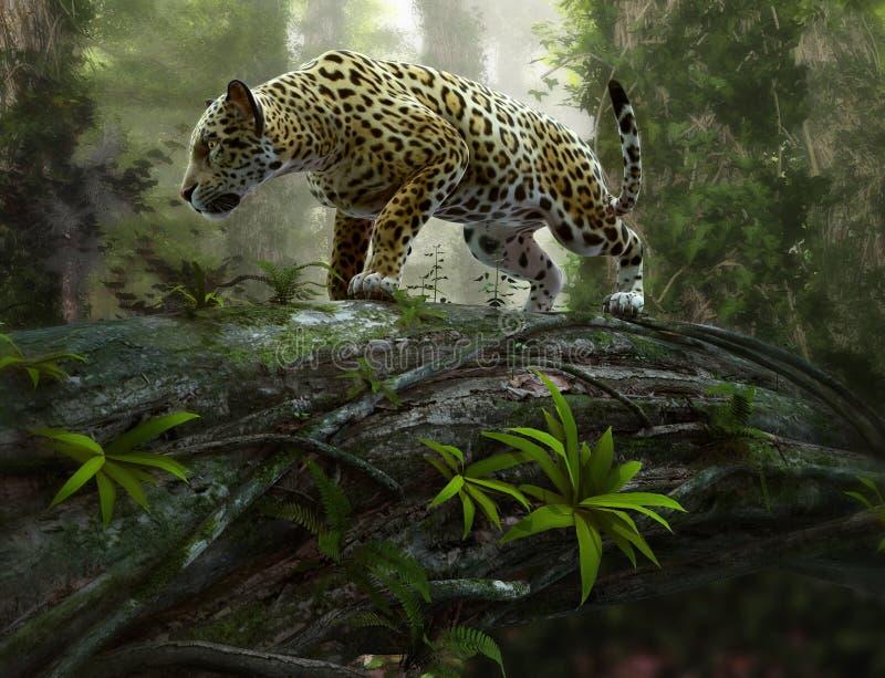 Jaguar na grasującym, 3d CG ilustracja wektor