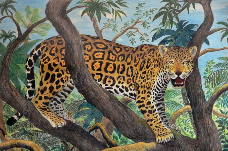 Jaguar na selva ilustração do vetor