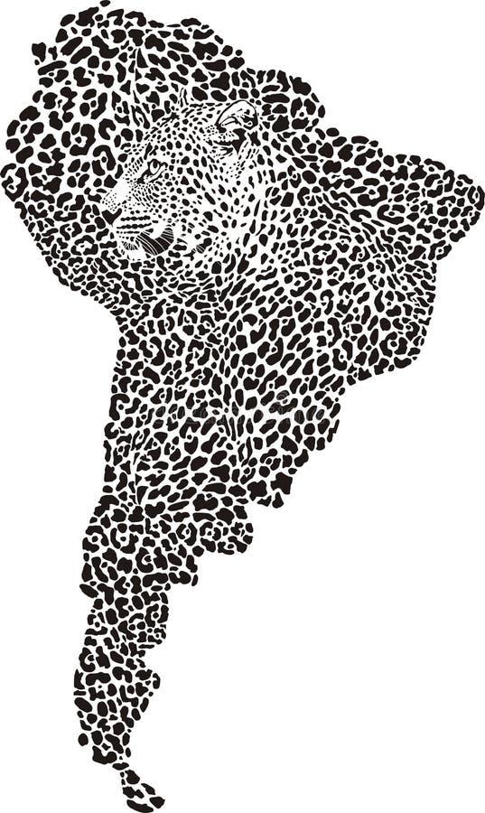 Jaguar Op De Kaart Van Zuid-Amerika Stock Foto's