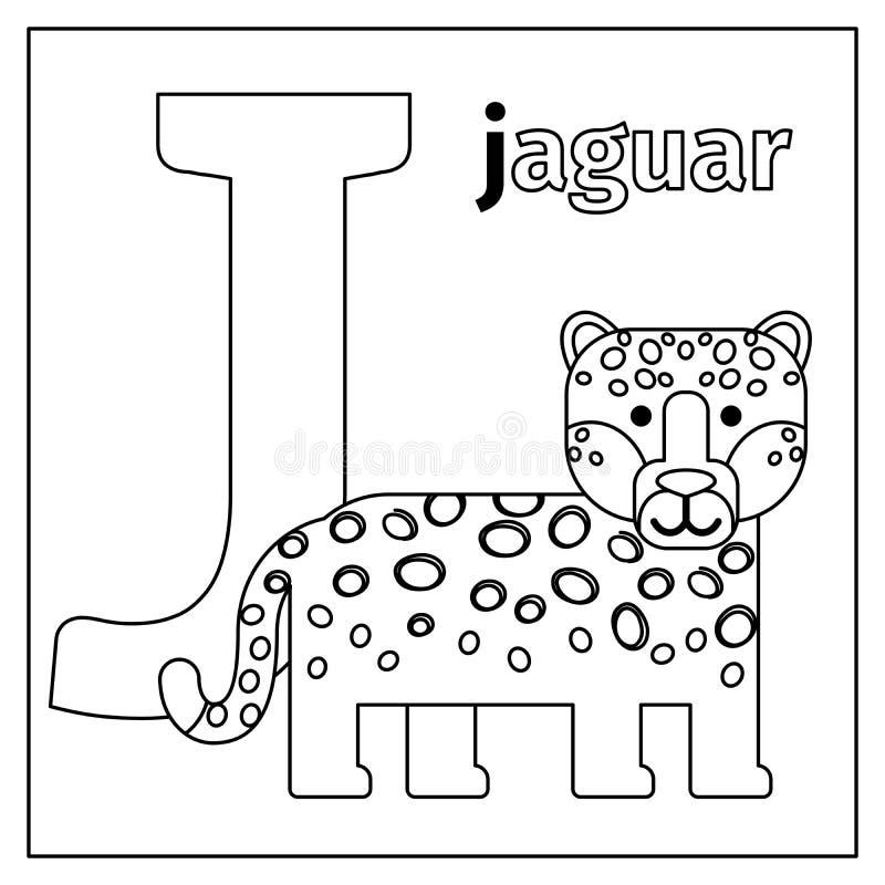Jaguar, Página Del Colorante De La Letra J Ilustración del Vector ...
