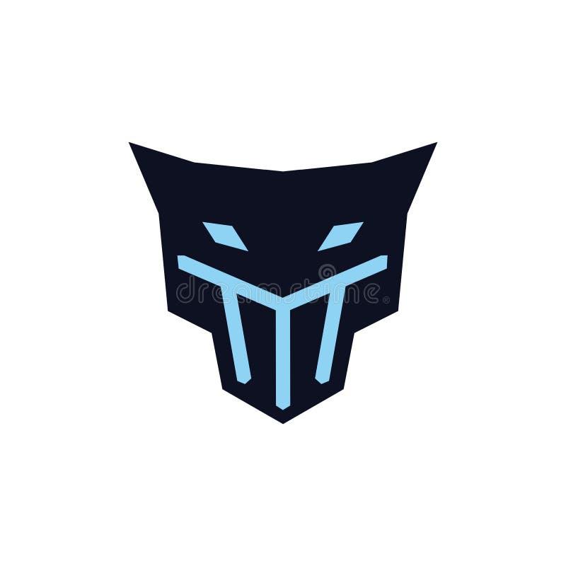 Jaguar principal com conceito do logotipo da máscara ilustração stock