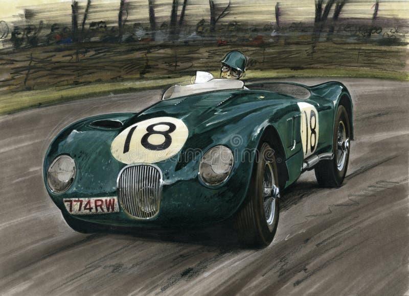 Jaguar som är tävlings- på Le Mans vektor illustrationer