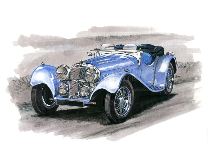 Jaguar SS100 stock illustrationer