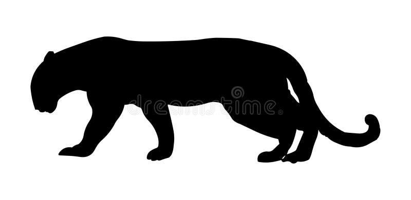 Jaguar-Vektorillustrationsschwarzschattenbild lizenzfreie abbildung