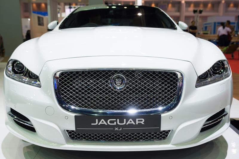 Jaguar XJ on display stock image