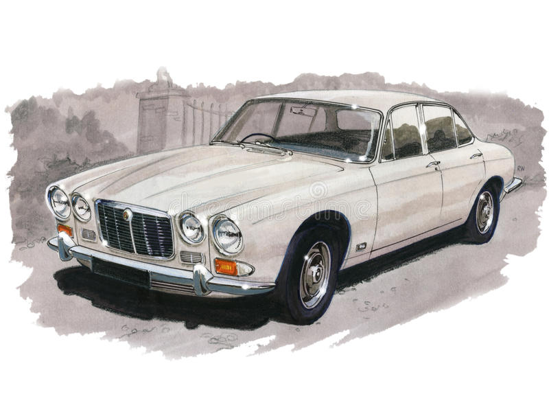Jaguar XJ6 serie 1 stock illustrationer