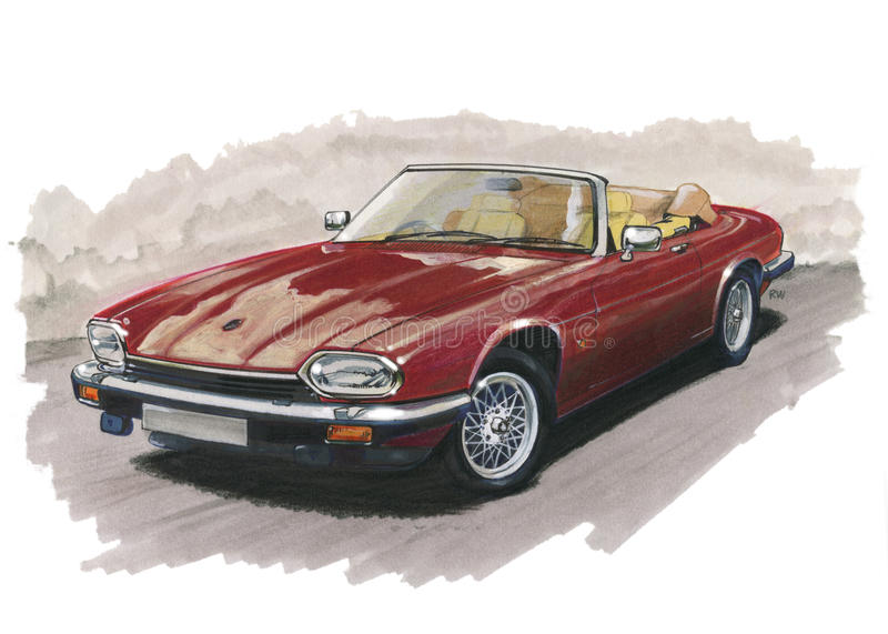 Jaguar XJS royaltyfri illustrationer