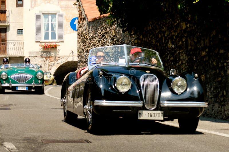 Jaguar XK120 à Bergame Grand prix historique 2017 image libre de droits